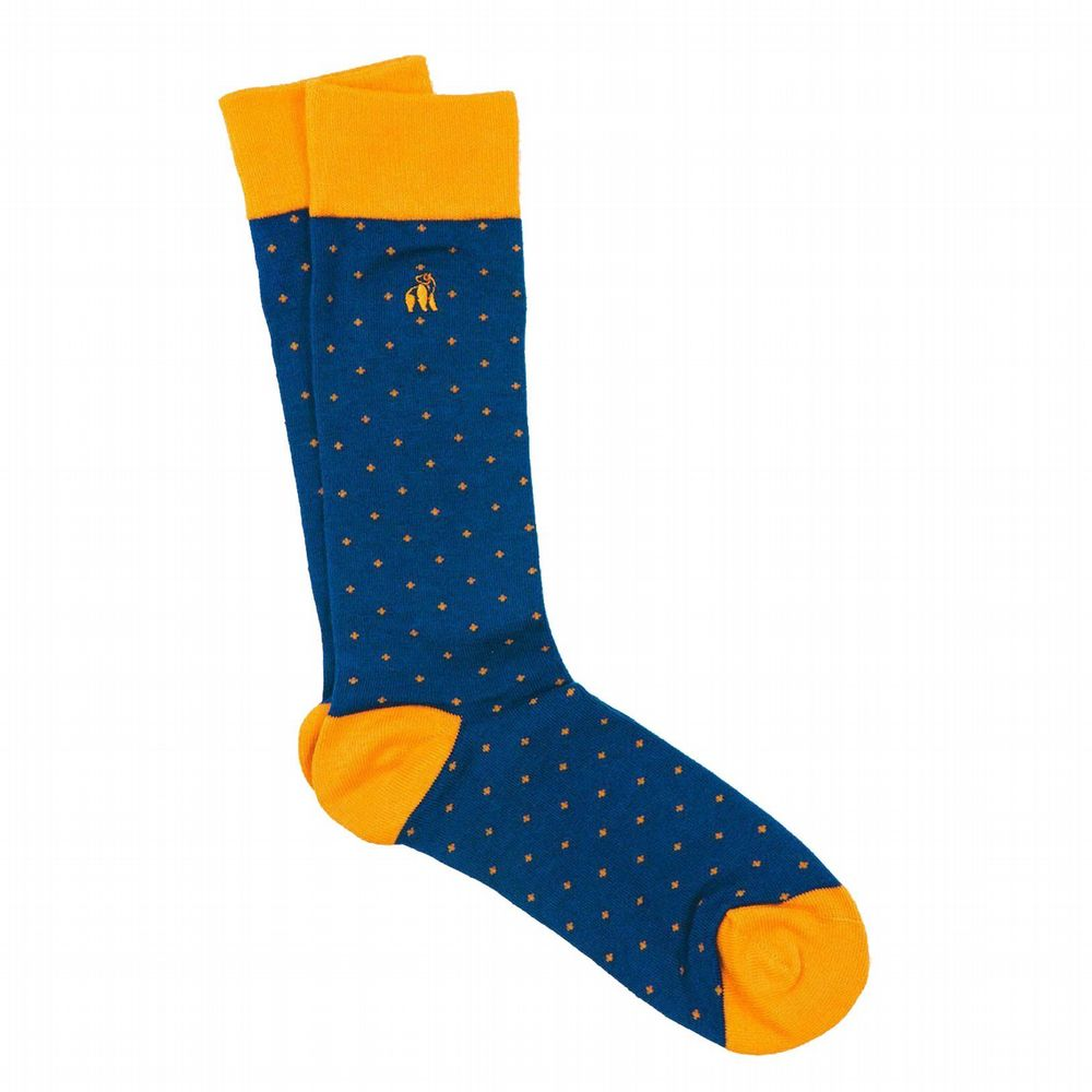 Bamboo Spotted Orange and Navy Socks